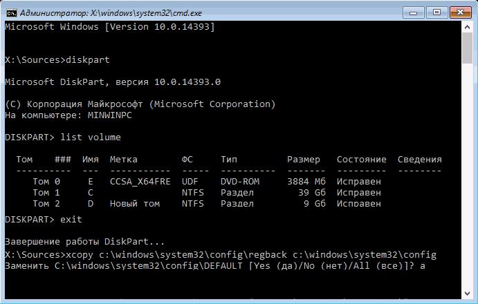 Копирование резервных файлов реестра в системную папку