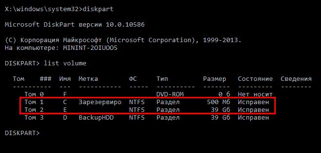 Просмотр дисков через команду list volume