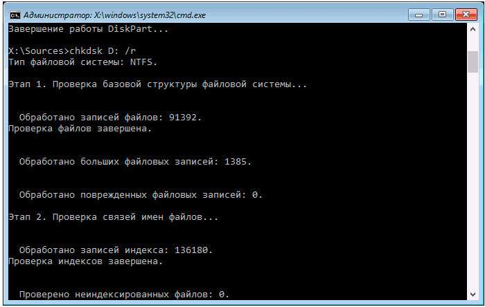 Команда chkdsk для проверки жесткого диска