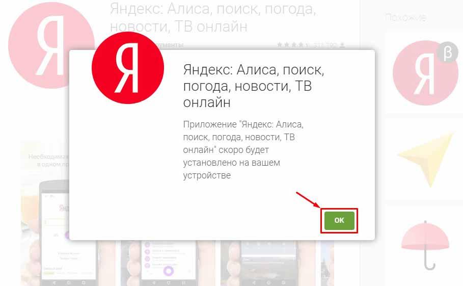 Информационное окно при установки приложения Алиса