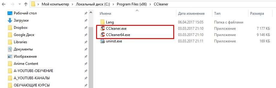 Разные исполняемые файлы программы для 32-х и 64-х разрядных систем