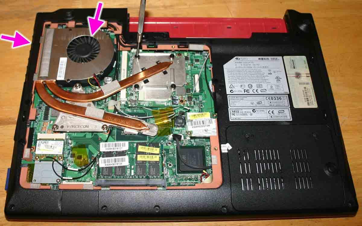 Нерабочий вентилятор ноутбука или «прогоревшие» трубки отвода тепла от процессора