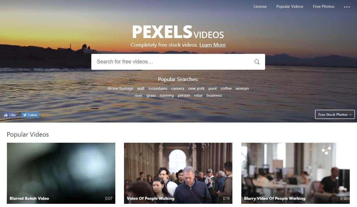 PEXELS VIDEOS - сервис с бесплатными видеофутажами