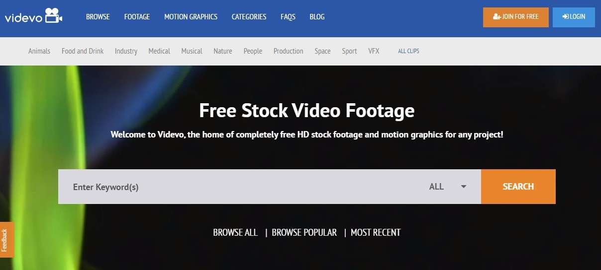 Videvo - сервис с бесплатными видеофутажами