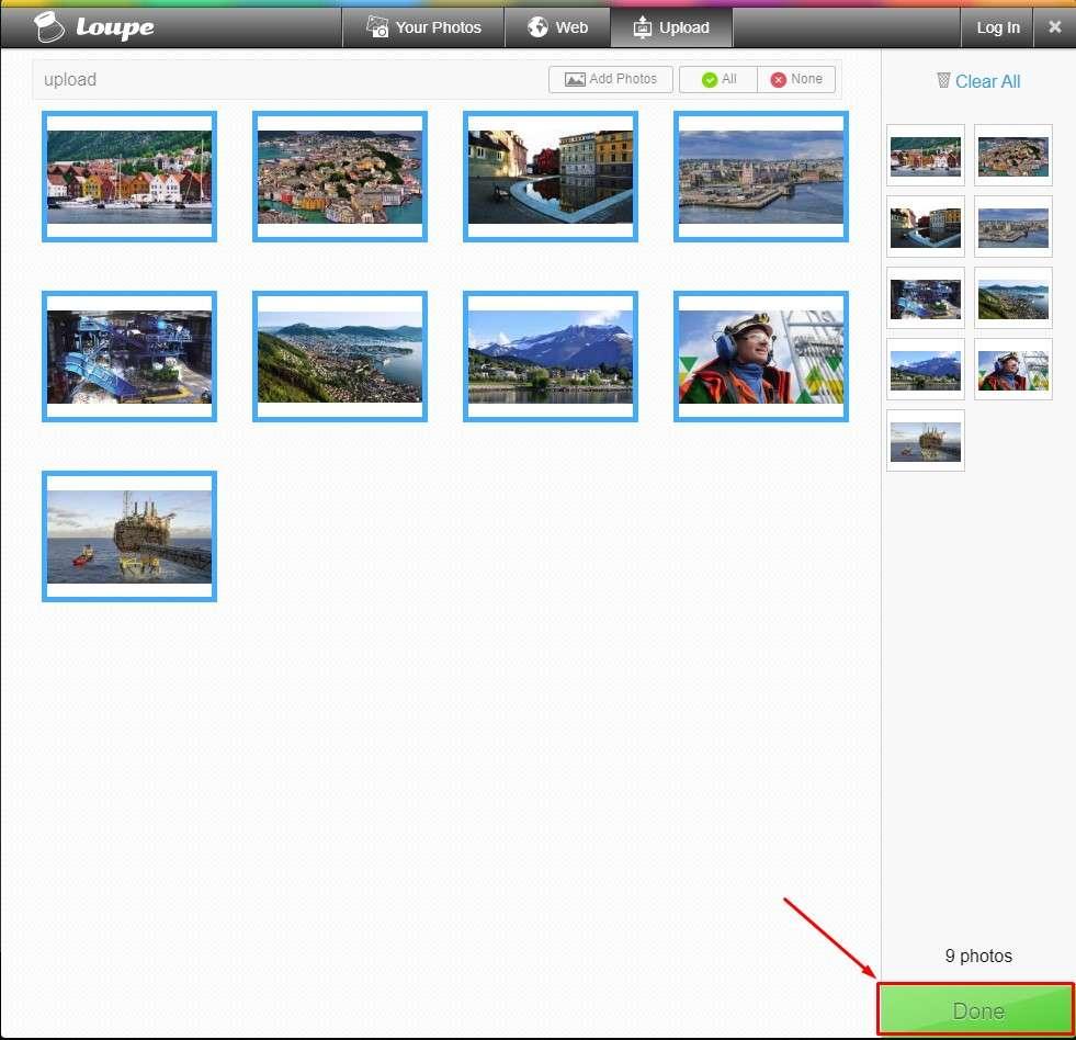 Loupe Collage - добавление фотографий в коллаж
