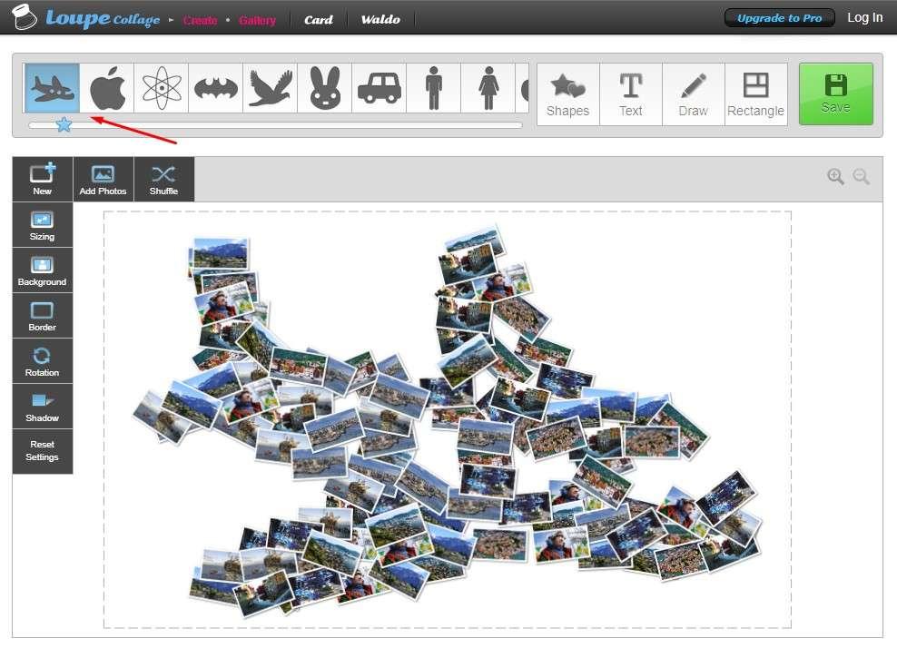 Loupe Collage - выбор рисунка для коллажа