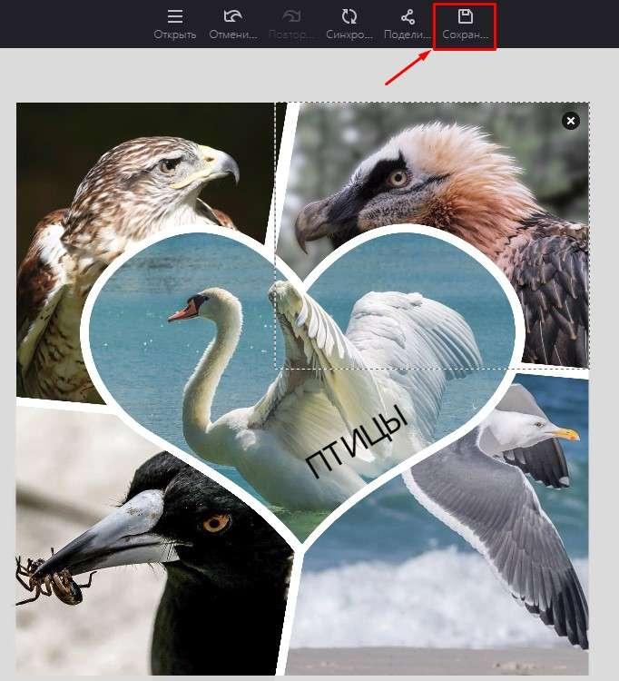 сохранение фотоколлажа на сервисе fotor