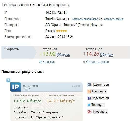 Результат измерения скорости интернета в сервисе 2IP