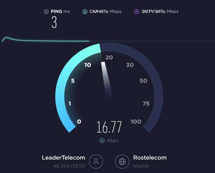 Замер скорости интернета на сервисе SpeedTest