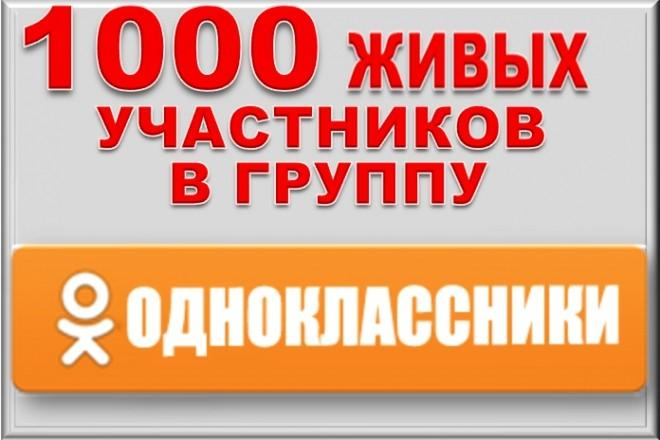 1000 живых участников в группу Одноклассники