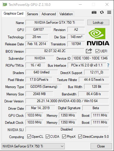 Характеристики Veineda GTX 750 Ti