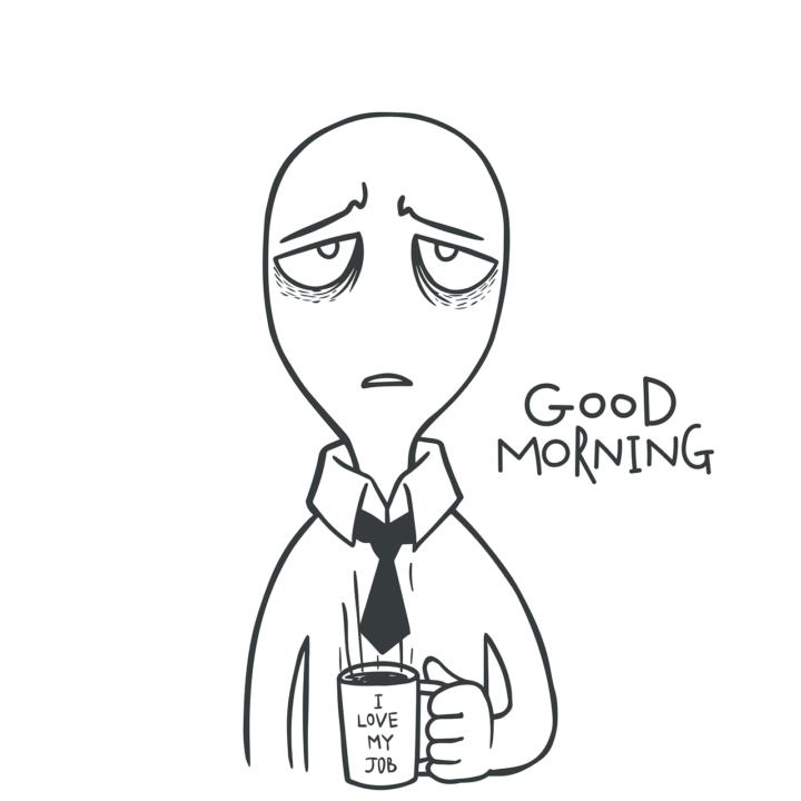 не выспавшийся рисованный персонаж