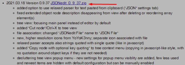 Официальный сайт программы JSONedit