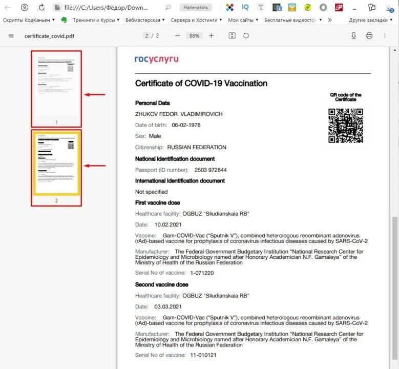 Сертификат вакцинации от COVID-19 на русском и английском языках