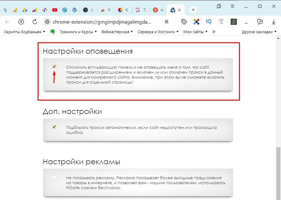 Настройка оповещения в расширении friGate VPN